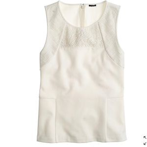 J. Crew white structured mixed lace shell tank